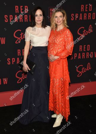"Mary-Louise Parker, Thekla Reuten. Mary-Louise Parker, left, and Thekla Reuten attend the premiere of ""Red Sparrow"" at Alice Tully Hall, in New York"