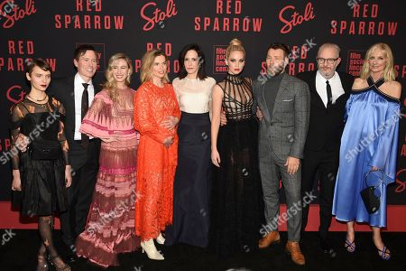 "Sasha Frolova, Kurt Froman, Isabella Boylston, Thekla Reuten, Mary-Louise Parker, Jennifer Lawrence, Joel Edgerton, Francis Lawrence, Joely Richardson. Sasha Frolova, from left, Kurt Froman, Isabella Boylston, Thekla Reuten, Mary-Louise Parker, Jennifer Lawrence, Joel Edgerton, director Francis Lawrence and Joely Richardson attend the premiere of ""Red Sparrow"" at Alice Tully Hall, in New York"