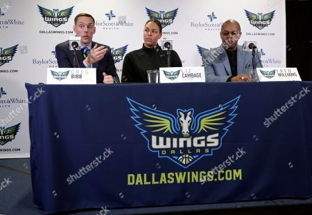 Fred Williams, Greg Bibb, Liz Cambage. Dallas Wings President and CEO Greg Bibb, left, responds to a question as newly acquired center Liz Cambage, center, of Australia, and head coach Fred Williams listen during a news conference at College Park Center, in Arlington, Texas