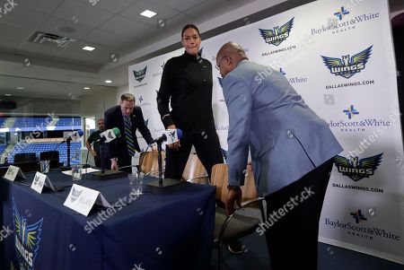 Fred Williams, Greg Bibb, Liz Cambage. Dallas Wings President and CEO Greg Bibb, left, newly acquired center Liz Cambage, center, of Australia, and head coach Fred Williams, right, depart after a news conference at College Park Center where Cambage was introduced, in Arlington, Texas