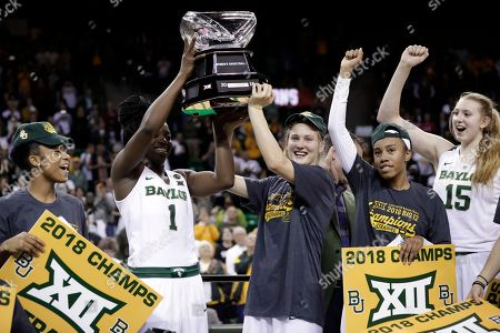 Alexis Morris, Dekeiya Cohen, Kristy Wallace, Juicy Landrum, Lauren Cox. From left to right, Baylor's Alexis Morris, Dekeiya Cohen (1), Kristy Wallace, of Australia, Juicy Landrum and Lauren Cox (15) celebrate with the Big 12 trophy after an NCAA college basketball game against West Virginia, in Waco, Texas