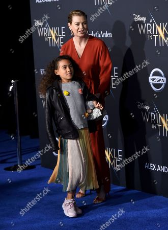 """Stella Luna Pompeo Ivery, Ellen Pompeo. Stella Luna Pompeo Ivery, left, and Ellen Pompeo arrive at the world premiere of """"A Wrinkle in Time"""" at the El Capitan Theatre, in Los Angeles"""
