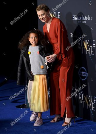 """Stock Photo of Stella Luna Pompeo Ivery, Ellen Pompeo. Stella Luna Pompeo Ivery, left, and Ellen Pompeo arrive at the world premiere of """"A Wrinkle in Time"""" at the El Capitan Theatre, in Los Angeles"""