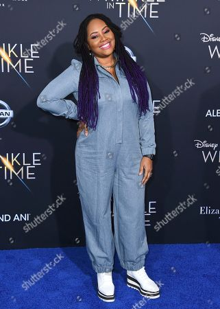 """Lalah Hathaway arrives at the world premiere of """"A Wrinkle in Time"""" at the El Capitan Theatre, in Los Angeles"""