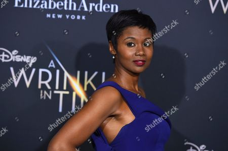 "Emayatzy Corinealdi arrives at the world premiere of ""A Wrinkle in Time"" at the El Capitan Theatre, in Los Angeles"