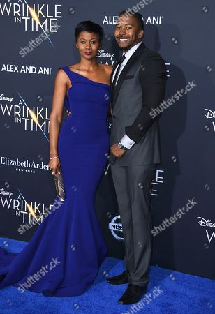 "Emayatzy Corinealdi, Jermaine Oliver. Emayatzy Corinealdi, left, and Jermaine Oliver arrive at the world premiere of ""A Wrinkle in Time"" at the El Capitan Theatre, in Los Angeles"