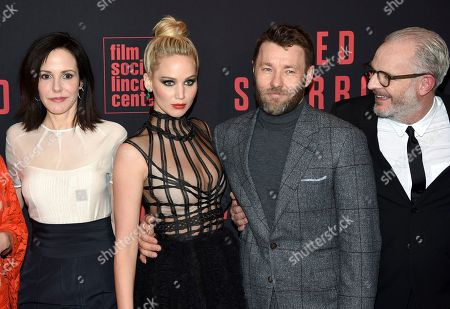 """Mary-Louise Parker, Jennifer Lawrence, Joel Edgerton, Francis Lawrence. Actors Mary-Louise Parker, left, Jennifer Lawrence and Joel Edgerton pose with director Francis Lawrence, right, at the premiere of """"Red Sparrow"""" at Alice Tully Hall, in New York"""