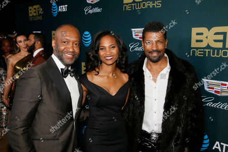 Jeff Friday, Nicole Friday, Deon Cole. Jeff Friday, President & CEO ABFF Ventures LLC and Executive Producer of ABFF Honors, from left, Nicole Friday, and Deon Cole are seen at the 2018 American Black Film Festival Honors at The Beverly Hilton, in Beverly Hills, Calif