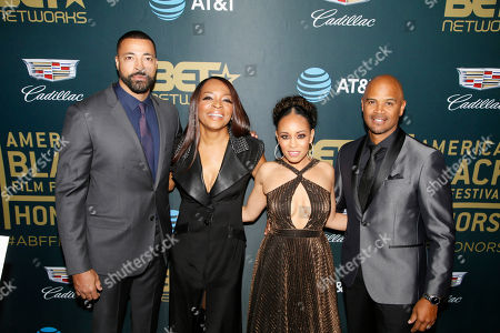 Stock Photo of Timon Kyle Durrett, Tina Lifford, Dawn-Lyen Gardner, Dondre Whitfield. Timon Kyle Durrett, from left, Tina Lifford, Dawn-Lyen Gardner and Dondre Whitfield are seen at the 2018 American Black Film Festival Honors at The Beverly Hilton, in Beverly Hills, Calif