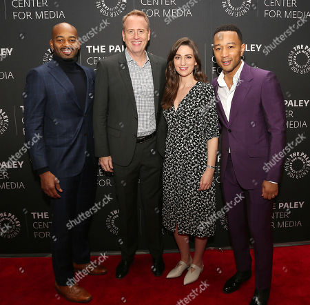 Stock Image of Brandon Victor Dixon, Robert Greenblatt (NBC Entertainment Chairman), Sara Bareilles and John Legend