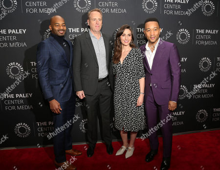 Stock Photo of Brandon Victor Dixon, Robert Greenblatt (NBC Entertainment Chairman), Sara Bareilles and John Legend