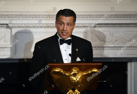Governor Brian Sandoval (Republican of Nevada) speaks at the Governors' Ball in the State Dinning Room of the White House in Washington, D.C