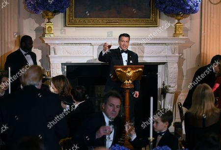 Governor Brian Sandoval (Republican of Nevada) offers a toast at the Governors' Ball in the State Dinning Room of the White House in Washington, D.C