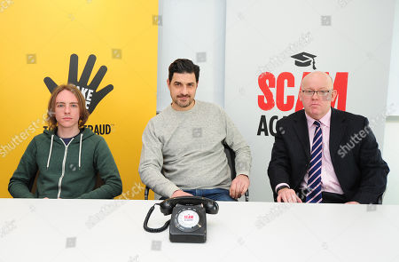 Stock Picture of Scam Academy. 2017/01/19 (l-r) Scott Mcgready Alexis Conran And Tony Blake. Money Mail Interviews The Scam Academy. Scam Academy Takes Three Celebrities Through Their Paces When It Comes To Internet Scams. Tv Show. Pictures Embargoed Until 31st January.