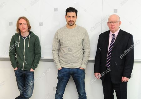 Editorial image of Scam Academy. 2017/01/19 Picture By Georgie Gillard Pictured: (l-r) Scott Mcgready Alexis Conran And Tony Blake. Money Mail Interviews The Scam Academy. Scam Academy Takes Three Celebrities Through Their Paces When It Comes To Internet Scams. Tv Show
