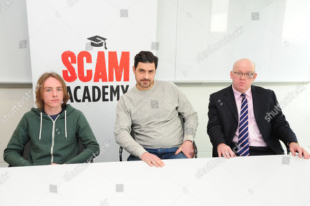Editorial photo of Scam Academy. 2017/01/19 Picture By Georgie Gillard Pictured: (l-r) Scott Mcgready Alexis Conran And Tony Blake. Money Mail Interviews The Scam Academy. Scam Academy Takes Three Celebrities Through Their Paces When It Comes To Internet Scams. Tv Show