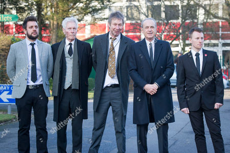 Francis Rossi. Friends And Family Attend Status Quo Guitar Player Rick Parfitt's Funeral Today 19th January 2017. Held At Woking Crematorium. Status Quo Band Members. Leon Cave Andy Down John Edwards Francis Rossi And Unknown Member Far Right.