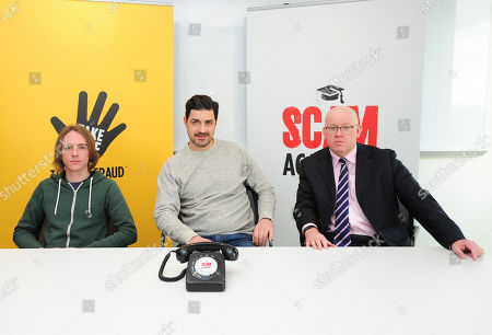 Stock Image of Scam Academy. 2017/01/19 (l-r) Scott Mcgready Alexis Conran And Tony Blake. Money Mail Interviews The Scam Academy. Scam Academy Takes Three Celebrities Through Their Paces When It Comes To Internet Scams. Tv Show. Pictures Embargoed Until 31st January.