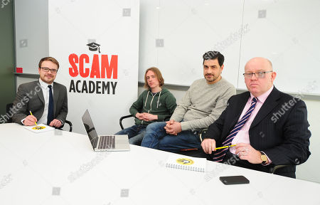 Scam Academy. 2017/01/19 (l-r) Money Mail's Paul Thomas Scott Mcgready Alexis Conran And Tony Blake. Money Mail Interviews The Scam Academy. Scam Academy Takes Three Celebrities Through Their Paces When It Comes To Internet Scams. Tv Show. Pictures Embargoed Until 31st January.