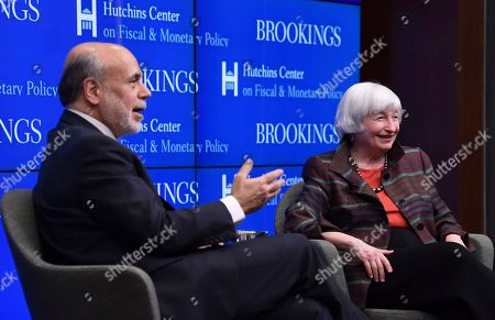 Ben Bernanke, Janet Yellen. Former Federal Reserve Chairs Ben Bernanke, left, and Janet Yellen, right, participate in a discussion at the Brookings Institute in Washington