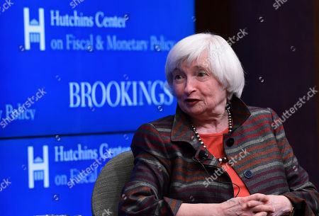 Former Federal Reserve Chair Janet Yellen, speaks during a discussion at the Brookings Institute with former Federal Reserve Chair Ben Bernanke in Washington