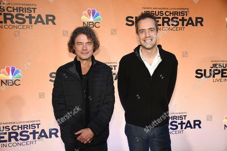 Stock Picture of David Leveaux, Alex Rudzinski. Director David Leveaux, left, and live television director Alex Rudzinski participate in NBC's Jesus Christ Superstar Live in Concert press junket at the Church of St. Paul the Apostle, in New York