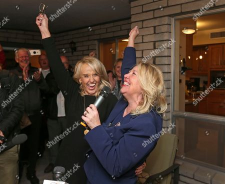 Debbie Lesko, Jan Brewer. Republican candidate and former Arizona state Sen. Debbie Lesko, right, celebrates with former Arizona Gov. Jan Brewer after election results were announced for the Congressional District 8 seat during a campaign party at Lesko's home, in Glendale, Ariz. A special primary election was being held to replace Arizona Republican Rep. Trent Franks who resigned amid accusations of sexual misconduct