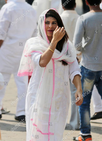 Bollywood actress Jacqueline Fernandez arrives to pay last respects to Indian actress Sridevi in Mumbai, India, . Thousands of grieving fans gathered in Mumbai to pay respects to Sridevi, the iconic Bollywood actress who drowned accidentally in a Dubai hotel bathtub over the weekend