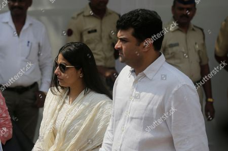 Siddharth Roy Kapur, Vidya Balan. Bollywood actress Vidya Balan, left, along with her husband Siddharth Roy Kapur leaves after paying last respects to Indian actress Sridevi in Mumbai, India, . Thousands of grieving fans gathered in Mumbai to pay respects to Sridevi, the iconic Bollywood actress who drowned accidentally in a Dubai hotel bathtub over the weekend