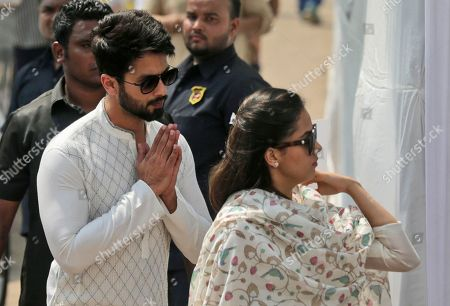 Shahid Kapoor, Mira Rajput. Bollywood actor Shahid Kapoor, left, along with his wife Mira Rajput arrives to pay last respects to Indian actress Sridevi in Mumbai, India, . Thousands of grieving fans gathered in Mumbai to pay respects to Sridevi, the iconic Bollywood actress who drowned accidentally in a Dubai hotel bathtub over the weekend