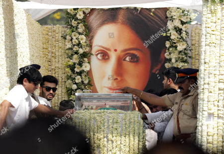 Bollywood actor and step-son Arjun Kapoor (C) stands near the mortal of late Indian actress Sridevi Kapoor during her funeral procession in Mumbai, India, 28 February 2018. According to media reports, Indian actress Sridevi Kapoor died at the age of 54 while attending a family wedding in Dubai, United Arab Emirates.