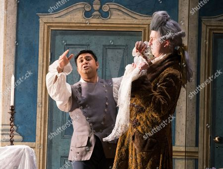 Stock Image of Ross Ramgobin as Figaro, Dawid Kimberg as Count Almaviva,