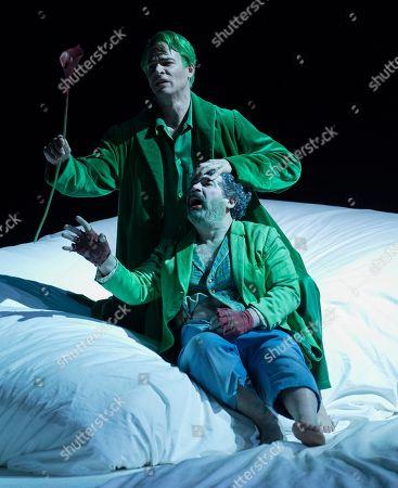 Stock Picture of Miltos Yerolemou as Puck, Christopher Ainslie as Oberon