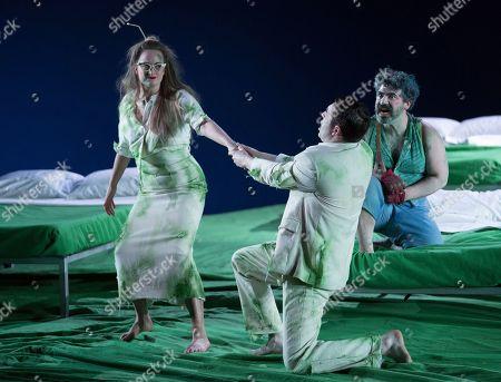 Stock Photo of Eleanor Dennis as Helena, Matthew Durkan as Demetrius, Miltos Yerolemou as Puck