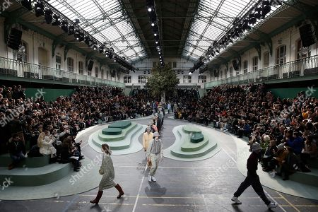 Models present creations from the Fall/ Winter 2018/2019 Women Ready to Wear collection by Portuguese designer Felipe Oliveira Baptista for Lacoste fashion house during the Paris Fashion Week, in Paris, France, 28 February 2018. The presentation of the Women's collections runs from 26 February to 06 March.