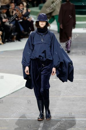 A model presents a creation from the Fall/ Winter 2018/2019 Women Ready to Wear collection by Portuguese designer Felipe Oliveira Baptista for Lacoste fashion house during the Paris Fashion Week, in Paris, France, 28 February 2018. The presentation of the Women's collections runs from 26 February to 06 March.