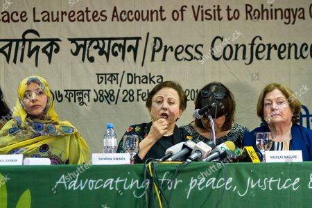 Tawakkol Karman, Shirin Ebadi, Mairead Maguire. Nobel Peace laureates, from left, Yemen's Tawakkol Karman, Iran's Shirin Ebadi and Ireland's Mairead Maguire address a press conference after their visit to the Rohingya refugee camps in Dhaka, Bangladesh, . The three Nobel Peace laureates on Wednesday accused Myanmar leader Aung San Suu Kyi and the nation's military of genocide for their role in violence that has forced hundreds of thousands of Rohingya Muslims to flee to Bangladesh