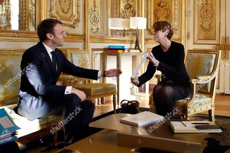 Stock Photo of General controller for prisons and detention centers (contrÙleuse gÈnÈral des lieux de privation de libertÈ) Adeline Hazan, right, meets with France's President Emmanuel Macron, as she delivers her annual report at the Elysee Palace in Paris, France