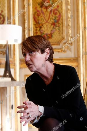 General controller for prisons and detention centers (contrÙleuse gÈnÈral des lieux de privation de libertÈ) Adeline Hazan, right, meets with France's President Emmanuel Macron, as she delivers her annual report, at the Elysee Palace in Paris, France