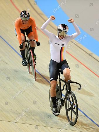 Miriam Welte of Germany celebrates winning the Women's Team Sprint Gold Final.