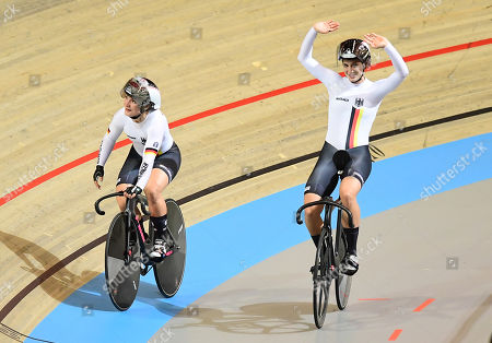 Kristina Vogel and Miriam Welte of Germany celebrate winning the Women's Team Sprint Gold Final.
