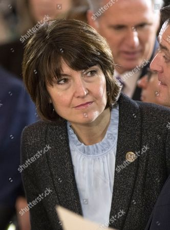 Stock Photo of United States Representative Cathy McMorris Rogers (Republican of Washington) prior to a ceremony for American evangelist Billy Graham as he lies in honor in the Rotunda of the US Capitol in Washington, DC, USA, 28 February 2018. Graham was the nation's best know Christian evangelist, preaching to millions worldwide, as well as being an advisor to US presidents over his 6 decade career.