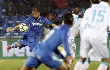 Getafe's Sergio Mora (L) in action during the Spanish Primera Division soccer match between Getafe CF and Deportivo Coruna at the Coliseum Alfonso Perez stadium in Getafe, Madrid, Spain, 28 February 2018.