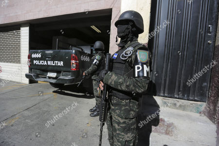 Honduran soldiers watch the Technical Agency of Criminal Investigation where former first lady Rosa Elena Bonilla, wife of former Honduran president Porfirio Lobo (2010-2014) remains in custody Tegucigalpa, Honduras, 28 February 2018. Bonilla was arrested for alleged corruption.