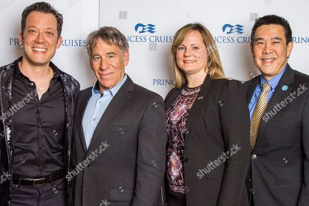 """Princess Cruises premiered its latest production, """"The Secret Silk,"""" created exclusively for the line in partnership with Stephen Schwartz, onboard Royal Princess. From left to right, John Tartaglia, show creator and director, Stephen Schwartz, producer, Denise Saviss, vice president of entertainment experience, and Gordon Ho, SVP of global marketing and North American Sales for Princess Cruises, on in Fort Lauderdale, Fla"""