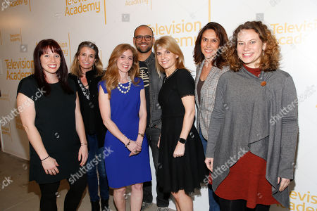 """Caitlin McFarland, Deirdre Shaw, Marisa Nightingale,Mauricio Mota,Ginny Ehrlich, Rina Mimoun, Emily Gibson. EXCLUSIVE - From left to right, Caitlin McFarland, ATX TV Festival Founder and Co-Executive Director, Deirdre Shaw (Jane the Virgin), Marisa Nightingale, Consultant and Senior Media Advisor, Power to Decide, Mauricio Mota (East Los High, Co-President of Wise Entertainment), Ginny Ehrlich, CEO of Power to Decide, Rina Mimoun (Everwood, Mistresses, Dawson's Creek) and Emily Gibson, ATX TV Festival Founder and Co-Executive Director, pose before """"Tuning in for THE TALK - How TV is Approaching Love, Sex, Pregnancy & Birth Control and How Young People Are Responding,"""" a provocative discussion presented by the Television Academy, ATX TV Festival and Power to Decide on at the Television Academy's Saban Media Center in North Hollywood, Calif"""