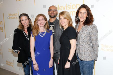 """Deirdre Shaw, Marisa Nightingale,Mauricio Mota,Ginny Ehrlich, Rina Mimoun. EXCLUSIVE - From left to right, writer/producer Deirdre Shaw (Jane the Virgin), Marisa Nightingale, Consultant and Senior Media Advisor, Power to Decide, writer/producer Mauricio Mota (East Los High, Co-President of Wise Entertainment), Ginny Ehrlich, CEO of Power to Decide and writer/producer Rina Mimoun (Everwood, Mistresses, Dawson's Creek) pose before """"Tuning in for THE TALK - How TV is Approaching Love, Sex, Pregnancy & Birth Control and How Young People Are Responding,"""" a provocative discussion presented by the Television Academy, ATX TV Festival and Power to Decide on at the Television Academy's Saban Media Center in North Hollywood, Calif"""