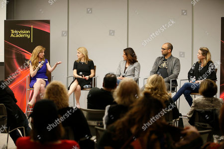 """Stock Photo of Marisa Nightingale,Ginny Ehrlich, Rina Mimoun, Mauricio Mota, Deirdre Shaw. EXCLUSIVE - From left to right, Marisa Nightingale, Consultant and Senior Media Advisor, Power to Decide, Ginny Ehrlich, CEO of Power to Decide, writer/producer Rina Mimoun (Everwood, Mistresses, Dawson's Creek), writer/producer Mauricio Mota (East Los High, Co-President of Wise Entertainment), and writer/producer Deirdre Shaw (Jane the Virgin), take part in """"Tuning in for THE TALK - How TV is Approaching Love, Sex, Pregnancy & Birth Control and How Young People Are Responding,"""" a provocative discussion presented by the Television Academy, ATX TV Festival and Power to Decide on at the Television Academy's Saban Media Center in North Hollywood, Calif"""