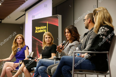 """Marisa Nightingale,Ginny Ehrlich, Rina Mimoun, Mauricio Mota, Deirdre Shaw. EXCLUSIVE - From left to right, Marisa Nightingale, Consultant and Senior Media Advisor, Power to Decide, Ginny Ehrlich, CEO of Power to Decide, writer/producer Rina Mimoun (Everwood, Mistresses, Dawson's Creek), writer/producer Mauricio Mota (East Los High, Co-President of Wise Entertainment), and writer/producer Deirdre Shaw (Jane the Virgin), take part in """"Tuning in for THE TALK - How TV is Approaching Love, Sex, Pregnancy & Birth Control and How Young People Are Responding,"""" a provocative discussion presented by the Television Academy, ATX TV Festival and Power to Decide on at the Television Academy's Saban Media Center in North Hollywood, Calif"""