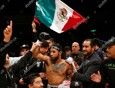 Mexico's Luis Nery celebrates after beating Japan's Shinsuke Yamanaka in their rematch for the WBC bantamweight world boxing title in Tokyo . Nery knocked out Yamanaka in the second round to clinch the title